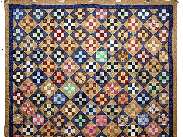 Blue Tan and Multicolor Scrappy Nine Patch Quilt Photo 2