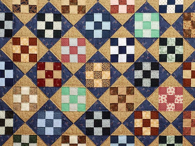 Blue Tan and Multicolor Scrappy Nine Patch Quilt Photo 3
