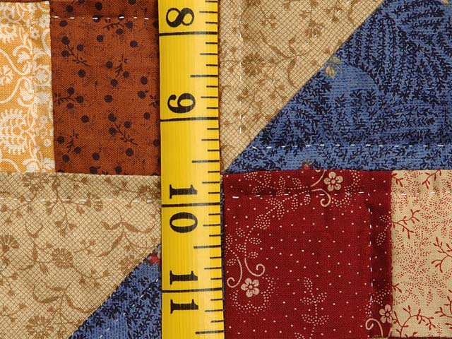 Blue Tan and Multicolor Scrappy Nine Patch Quilt Photo 5