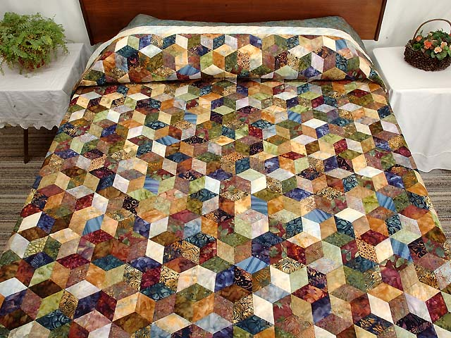 Turquoise Hand Painted Tumbling Blocks Quilt Photo 1