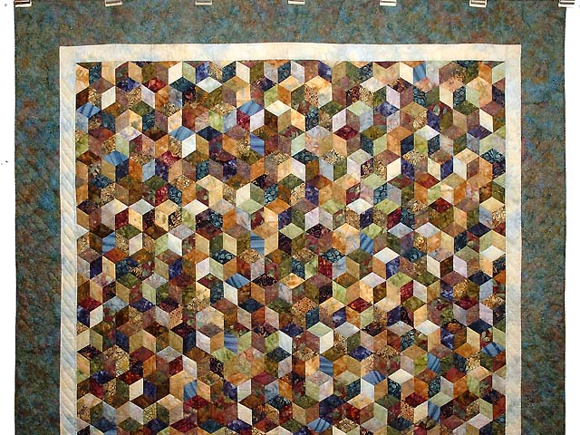 Turquoise Hand Painted Tumbling Blocks Quilt Photo 2
