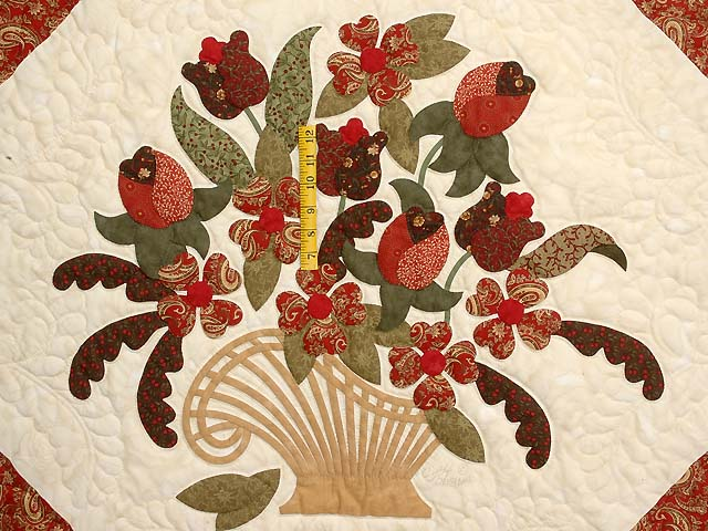 Paisley Red and Gold Spring Basket Quilt Photo 4