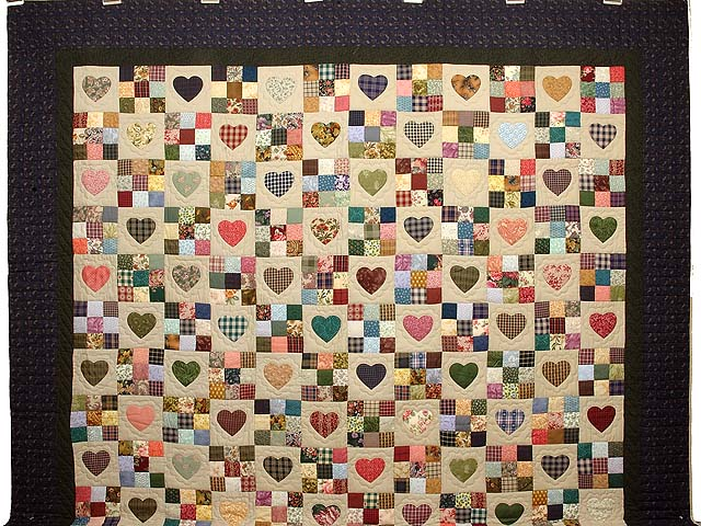 King Navy Green and Multi Hearts and Nine Patch Quilt Photo 2