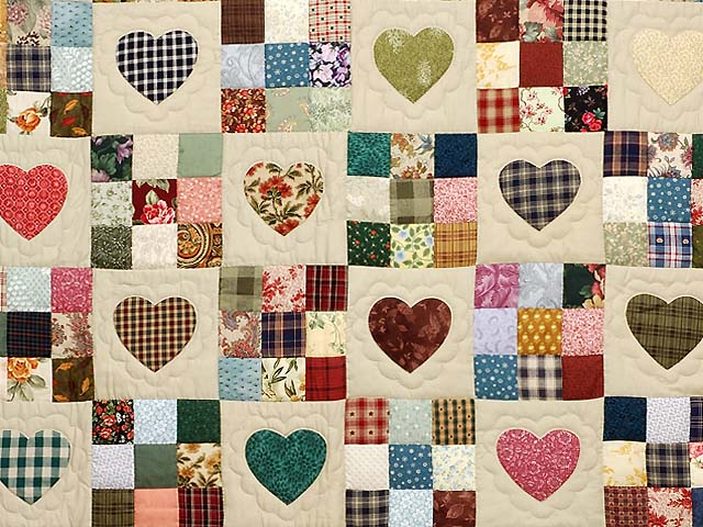 King Navy Green and Multi Hearts and Nine Patch Quilt Photo 3