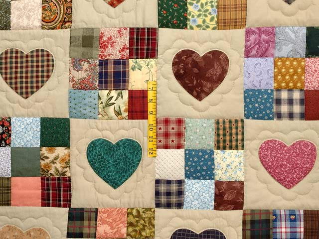 King Navy Green and Multi Hearts and Nine Patch Quilt Photo 4