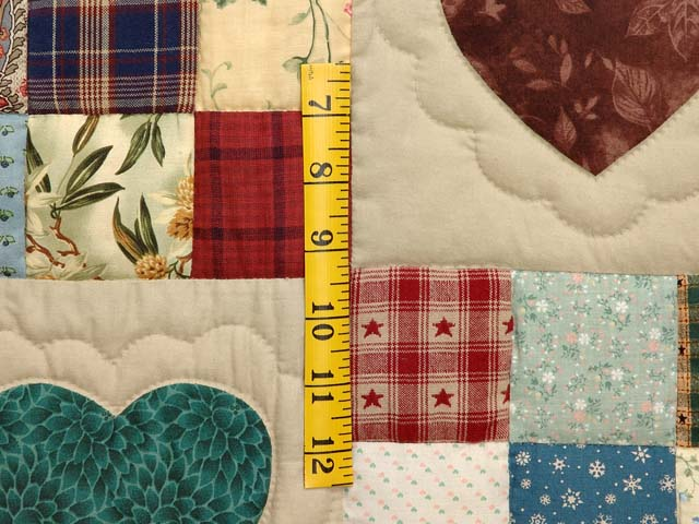 King Navy Green and Multi Hearts and Nine Patch Quilt Photo 5