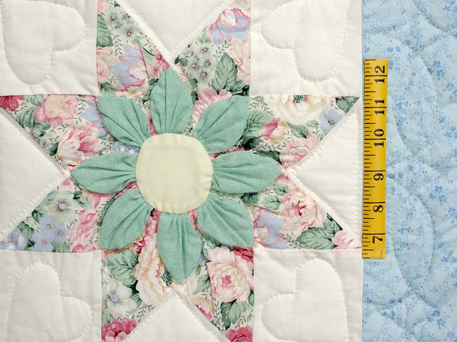 Pastel Blue Rose and Green Dahlia Star Quilt Photo 5