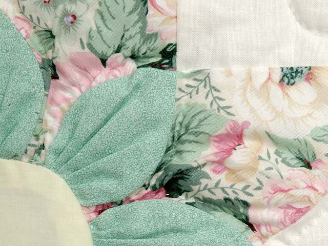 Pastel Blue Rose and Green Dahlia Star Quilt Photo 6