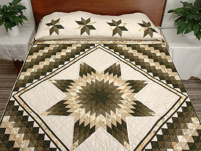 Moss Green and Beige Lone Star Trip Quilt Photo 1