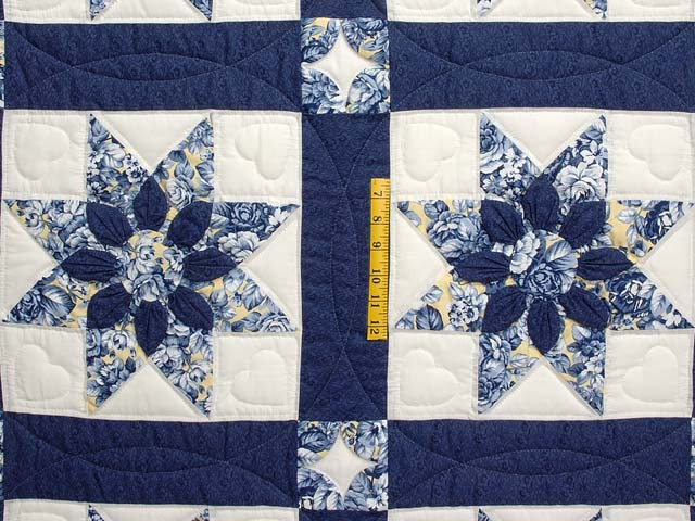 Navy and Yellow Dahlia Star Quilt Photo 4