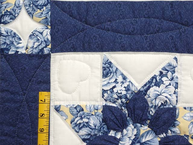 Navy and Yellow Dahlia Star Quilt Photo 5