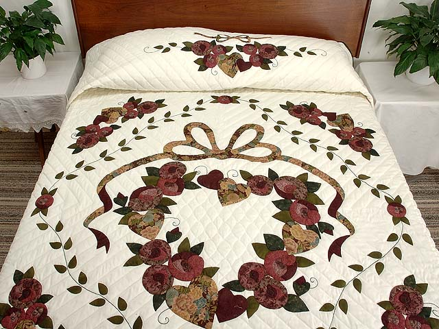 Plum Green and Gold Country Love Quilt Photo 1