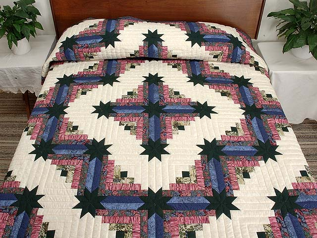 Blue Plum and Green Colorado Log Cabin Quilt Photo 1