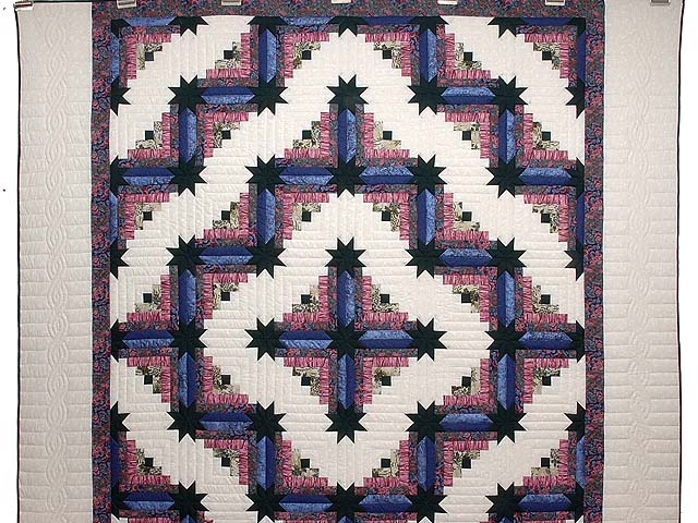 Blue Plum and Green Colorado Log Cabin Quilt Photo 2
