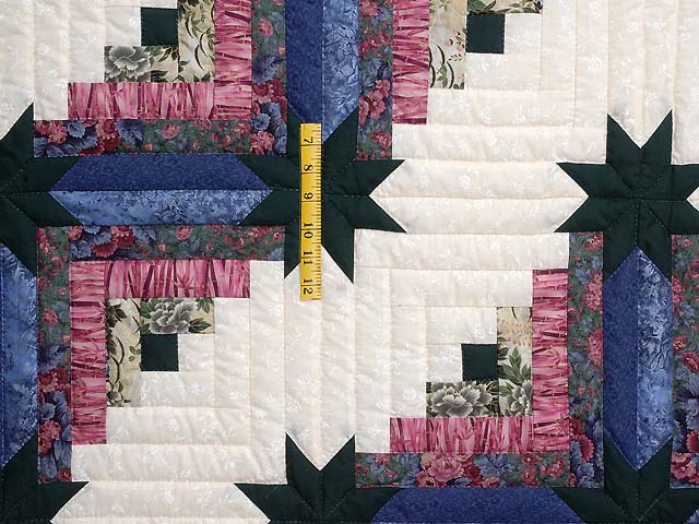 Blue Plum and Green Colorado Log Cabin Quilt Photo 4