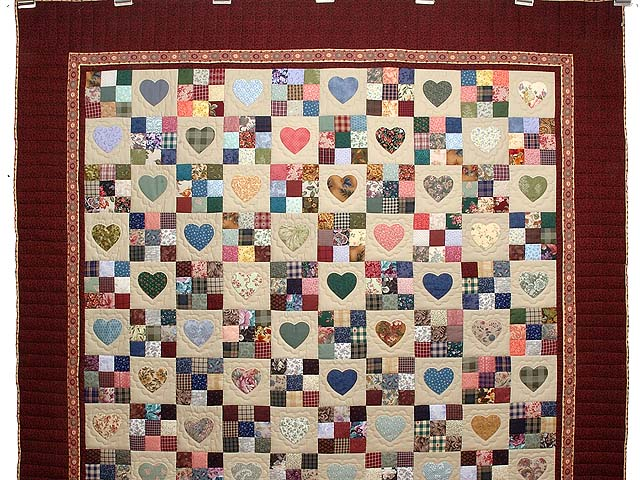Burgundy and Multicolor Hearts and Nine Patch Quilt Photo 2