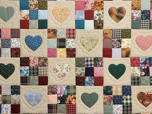 Burgundy and Multicolor Hearts and Nine Patch Quilt Photo 3