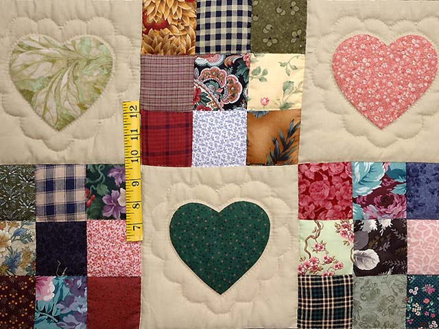 Burgundy and Multicolor Hearts and Nine Patch Quilt Photo 4
