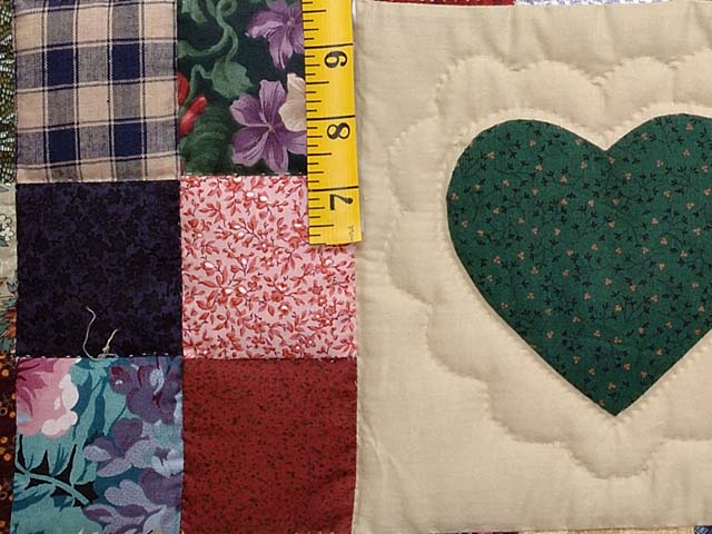 Burgundy and Multicolor Hearts and Nine Patch Quilt Photo 5