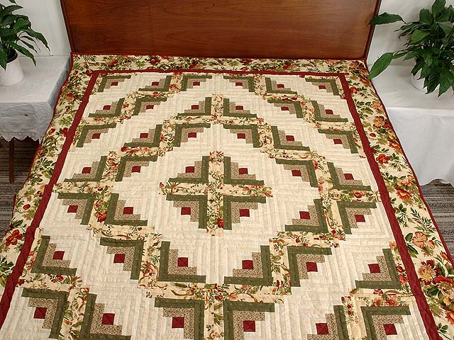Twin Size Burgundy Moss and Gold Log Cabin Quilt Photo 1