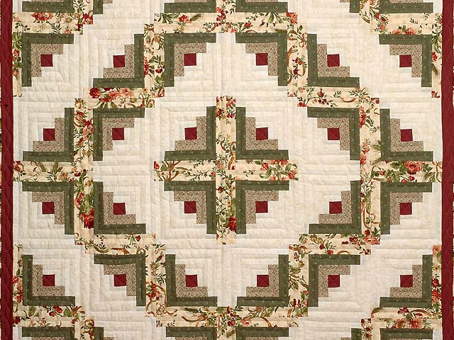 Twin Size Burgundy Moss and Gold Log Cabin Quilt Photo 3