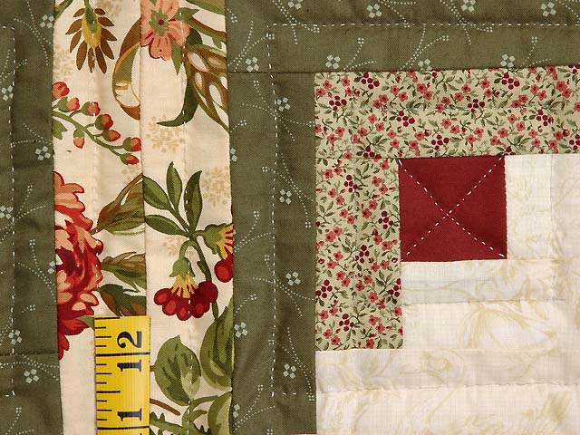 Twin Size Burgundy Moss and Gold Log Cabin Quilt Photo 5