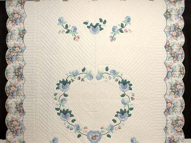 Blue Mint and Ivory Heart of Roses Quilt Photo 2