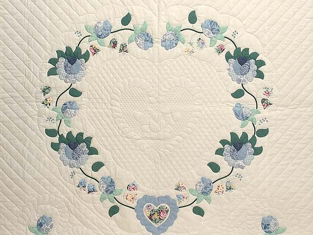 Blue Mint and Ivory Heart of Roses Quilt Photo 3