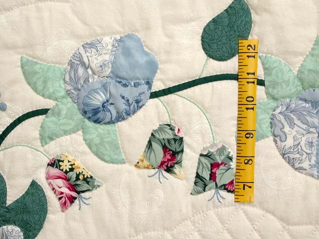 Blue Mint and Ivory Heart of Roses Quilt Photo 5