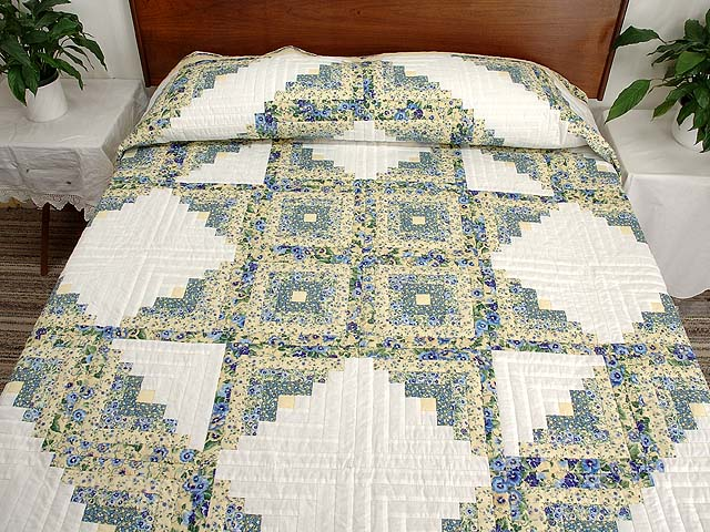 Pansy Blue and Yellow Log Cabin Star Quilt Photo 1