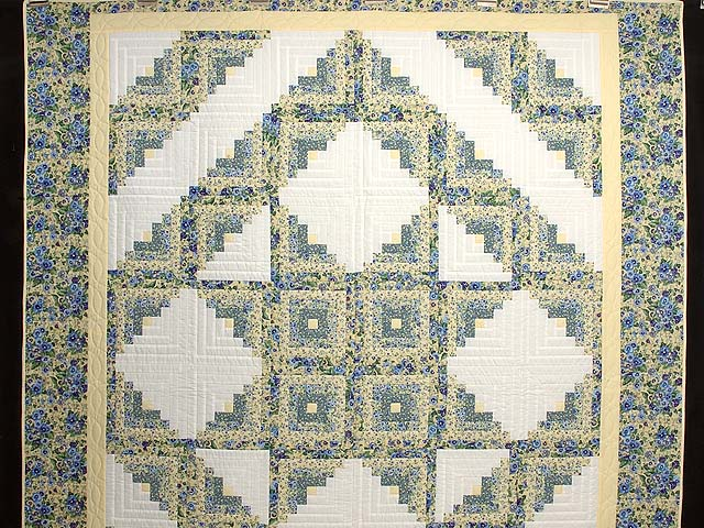 Pansy Blue and Yellow Log Cabin Star Quilt Photo 2