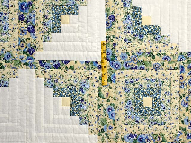 Pansy Blue and Yellow Log Cabin Star Quilt Photo 4