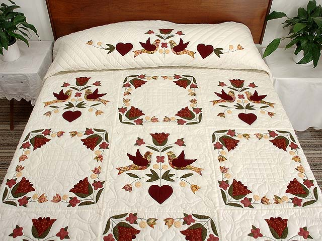 Rose and Gold Love Dove Quilt Photo 1