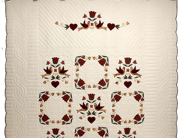 Rose and Gold Love Dove Quilt Photo 2