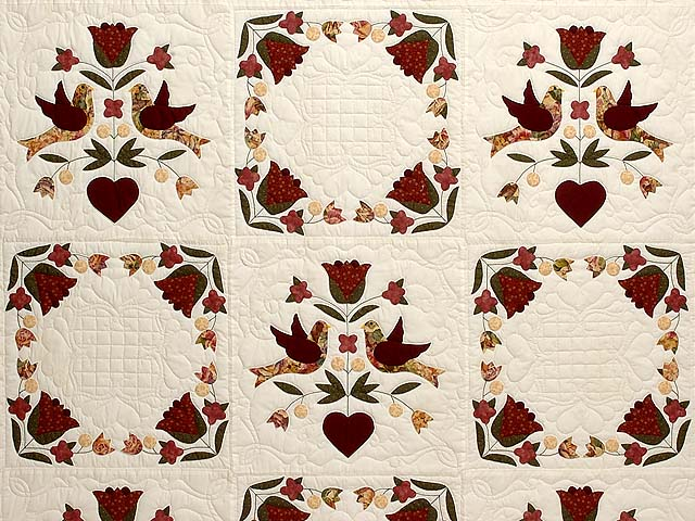 Rose and Gold Love Dove Quilt Photo 3