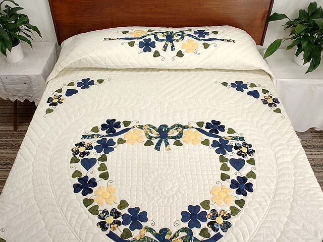 Navy and Yellow Heart Bouquet Quilt Photo 1