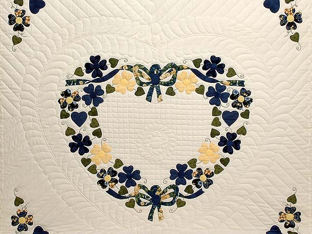 Navy and Yellow Heart Bouquet Quilt Photo 3