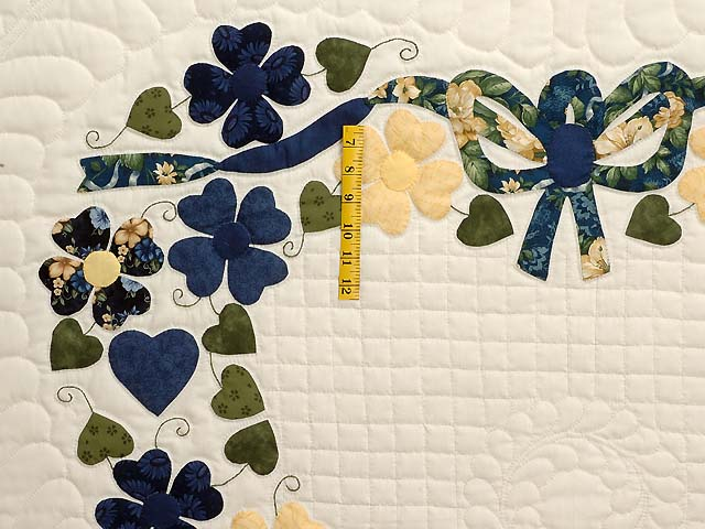 Navy and Yellow Heart Bouquet Quilt Photo 4