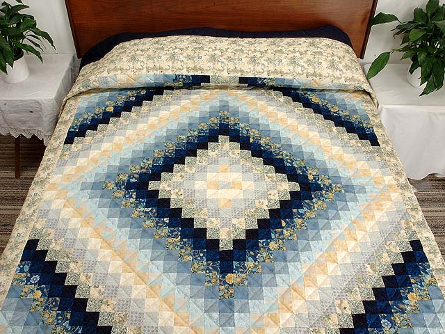 Navy Blue And Gold Trip Around The World Quilt