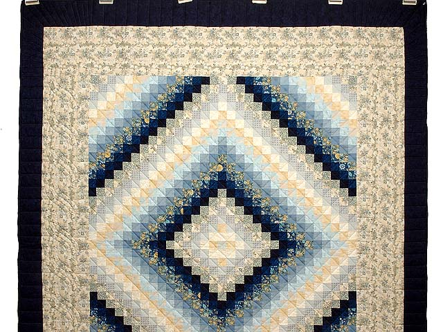 Navy Blue and Gold Trip Around the World Quilt Photo 2