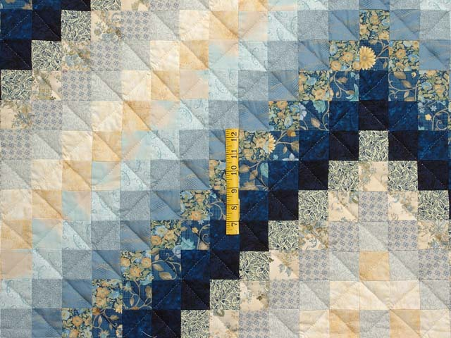 Navy Blue and Gold Trip Around the World Quilt Photo 4