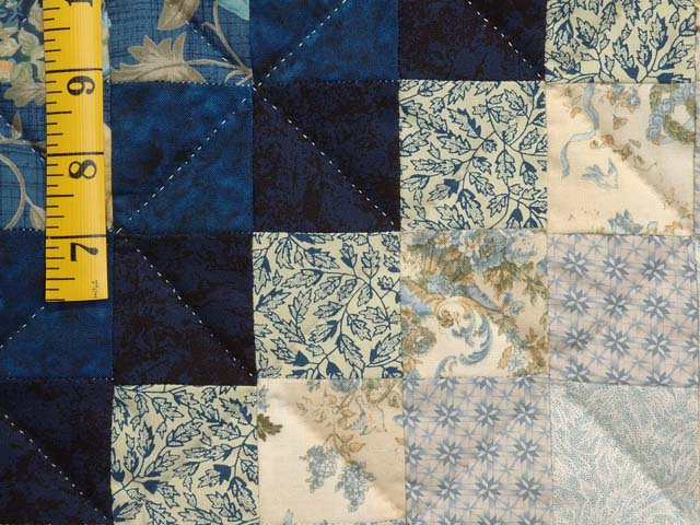 Navy Blue and Gold Trip Around the World Quilt Photo 5