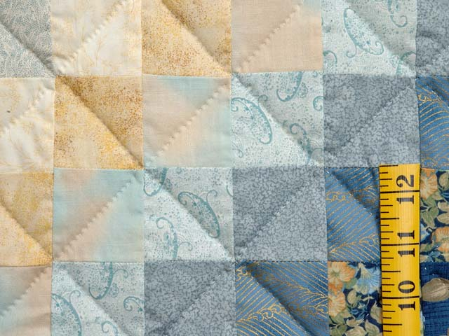 Navy Blue and Gold Trip Around the World Quilt Photo 6