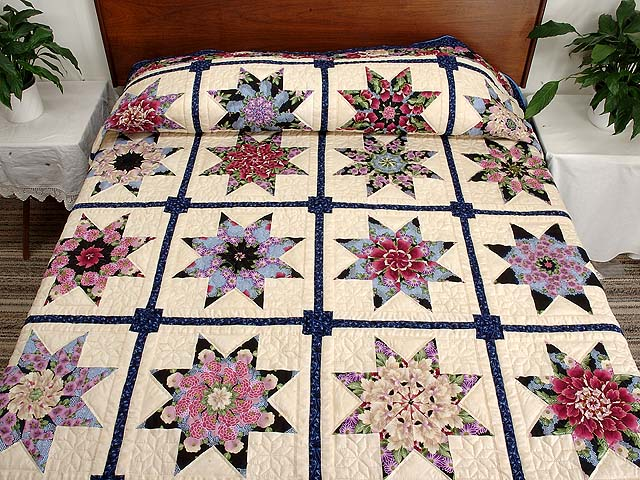 Blue and Multicolor Stack and Whack Stars Quilt Photo 1