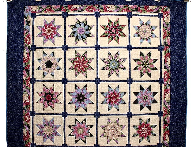 Blue and Multicolor Stack and Whack Stars Quilt Photo 2
