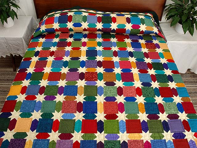 King Dark Green and Multicolor Starry Night Quilt Photo 1