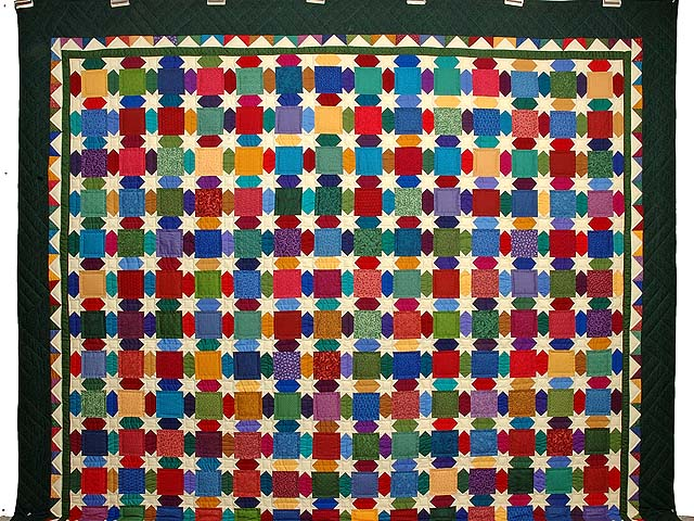 King Dark Green and Multicolor Starry Night Quilt Photo 2