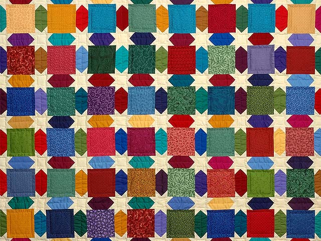 King Dark Green and Multicolor Starry Night Quilt Photo 3