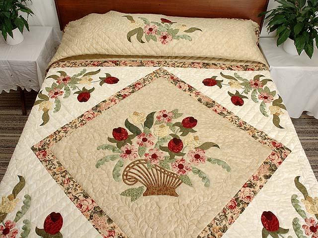 King Burgundy Moss Green and Tan Spring Basket quilt Photo 1