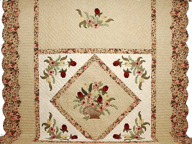 King Burgundy Moss Green and Tan Spring Basket quilt Photo 2